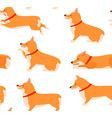 set of poses and emotions dog seamless pattern vector image vector image