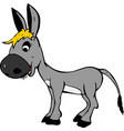 smiling gray baby donkey girl with yellow bangs vector image