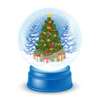snowglobe with christmas tree vector image