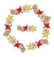 summer wreath of sea stars and seashells vector image