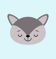the image of cute little sleeping wolf in cartoon vector image