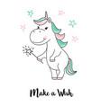 unicorn make a wish unicorn quote vector image vector image