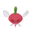 Veggie logo Scary beet with eyes and teeth Fork vector image
