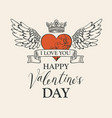 vintage valentine card with red heart and wings vector image vector image