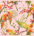 watercolor tropical parrots pattern vector image vector image