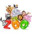 Word zoo with happy cartoon wild animal africa vector image vector image