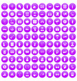 100 donation icons set purple
