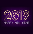 2019 new year neon lights with pig and numbers vector image