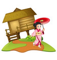a japanese girl on wooden hut vector image