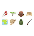 african safari icons in set collection for design vector image