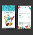 alcohol drinks menu bar brochure template vector image vector image