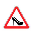 attention woman red prohibitory road sign womens vector image vector image