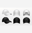baseball cap realistic black and white hat vector image