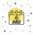 black line day calendar with date july 4 icon vector image vector image