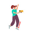 blogging cartoon woman making social media vector image