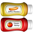 Bottle of mustard and ketchup vector image