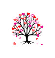 branches tree with hearts for valentines day vector image vector image