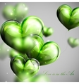 bunch of green balloon hearts vector image
