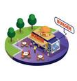 burger food truck isometric artwork vector image