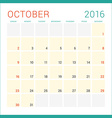 Calendar 2016 Flat Design Template October Week vector image