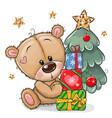 cartoon teddy bear with gifts near christmas vector image