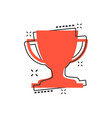 cartoon trophy cup icon in comic style winner vector image vector image