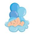 cute little baby boy sleeping in cloud vector image vector image