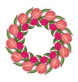 decorative spring frame with wreath of tulips vector image