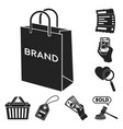 e-commerce purchase and sale black icons in set vector image