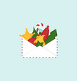 envelope with christmas decorations vector image vector image