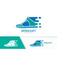 fast sneaker logo combination speed shoe vector image