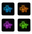glowing neon veterinary clinic symbol icon vector image vector image