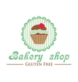 Gluten free bakery shop logo Cute cupcake on vector image vector image