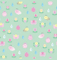green garden insects and flowers seamless pattern vector image vector image