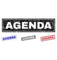 grunge agenda scratched rectangle stamp seals vector image vector image