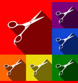 hair cutting scissors sign set of icons vector image vector image