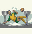 hand drawing soccer player jumping kick in retro vector image vector image