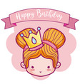 happy birthday with cute princess card vector image