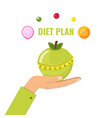 healthy diet concept green apple with measuring vector image