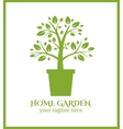 Home garden label tree in pot logo vector image vector image