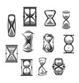 hourglass sandglass sand clock or watch icon set vector image vector image