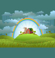 rainbow protects the small farm vector image vector image