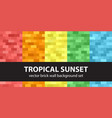 rectangle pattern set tropical sunset seamless vector image vector image