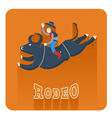 Rodeo iconMan riding a bull vector image vector image