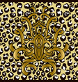 seamless leopard pattern with golden ribbons vector image vector image