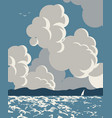 seascape with sea mountains and cloudy sky vector image vector image