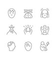 set line icons anxiety vector image