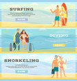 set of beach horizontal banners in flat vector image vector image