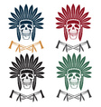 set of Native American chief skull in tribal vector image