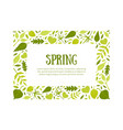 spring rectangular frame green leaves border vector image
